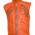 Orange Sleeveless Leather Jacket for Men - Ralf