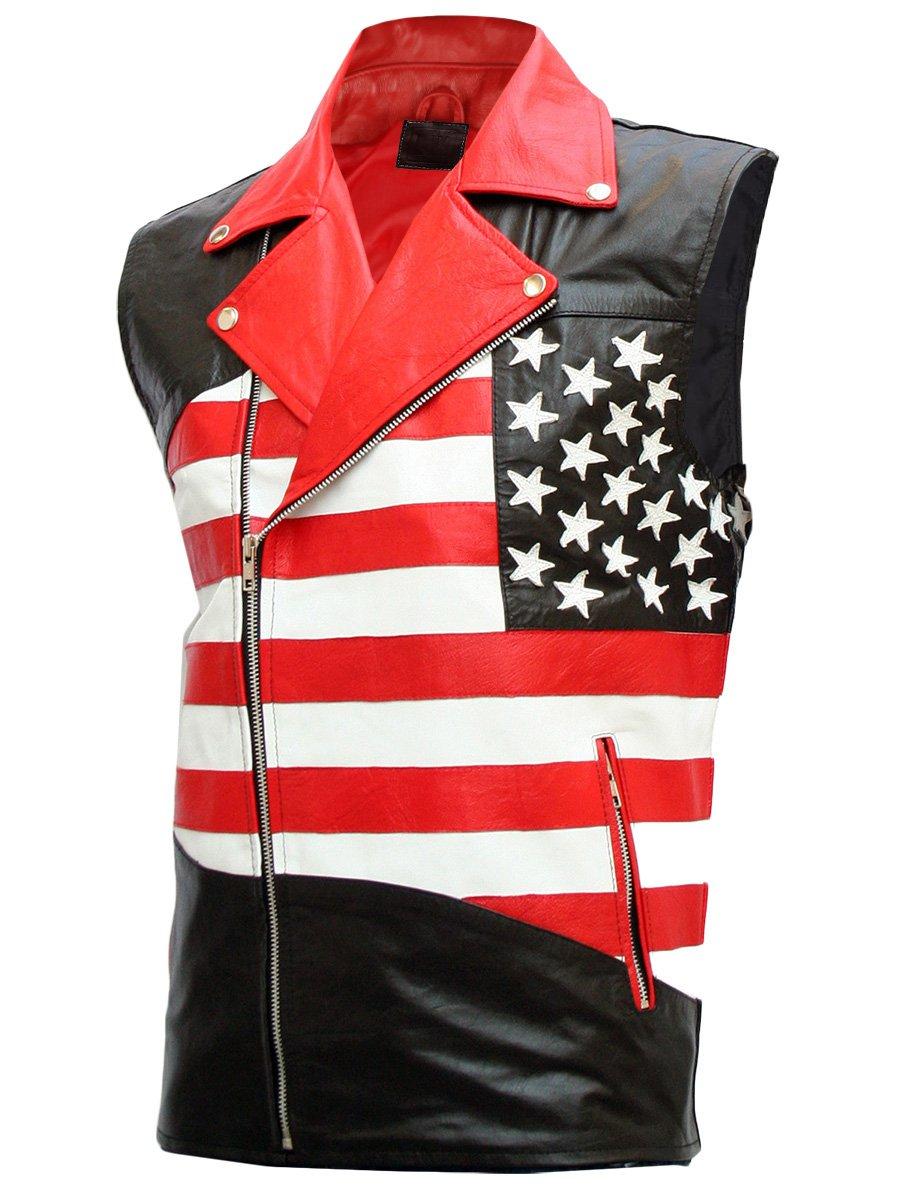 USA Flag Leather Motorcycle Vest for Men - Otieno