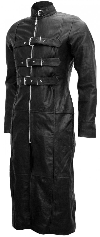 Full-Length Black Goth Leather Coat for Men - Paul