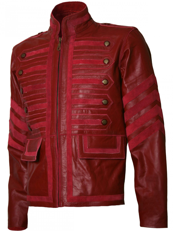 Men Military Style Biker Maroon Leather Jacket - Ogre