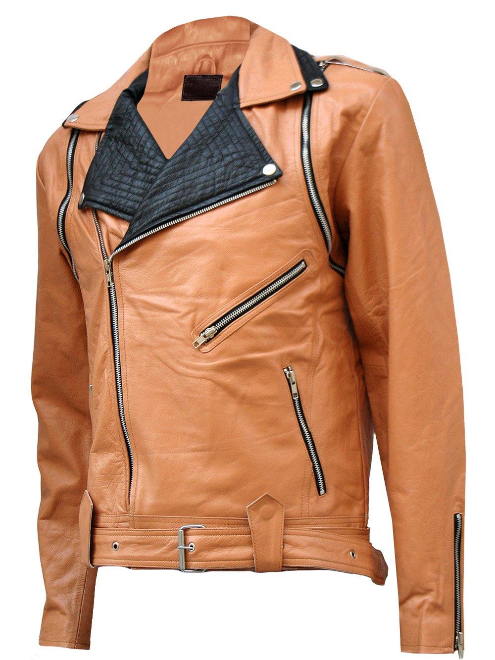 Tan & Black Draped Leather Jacket for Men - Takuma