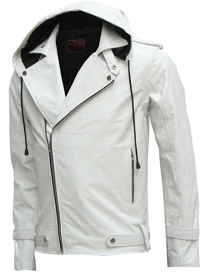 Magnificent White Men's Hooded Leather Jacket - Kyo