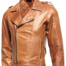 Biker Tan Men's Distressed Leather Jacket - Uzor