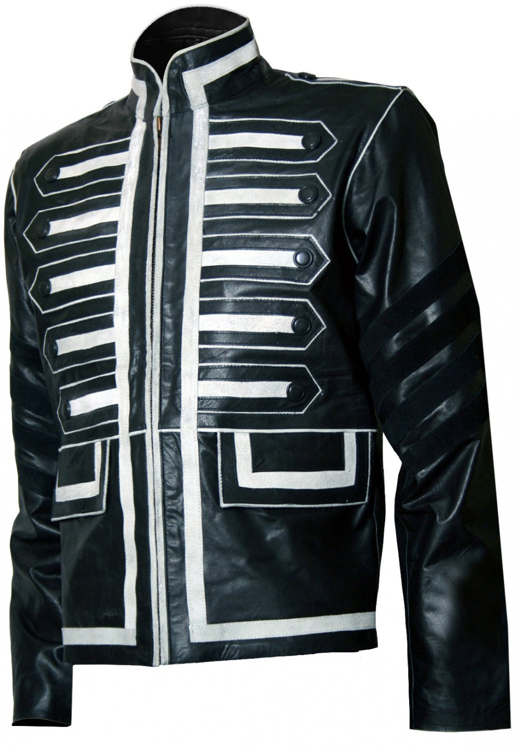 Military Look Men Black and White Leather Jacket - Gon