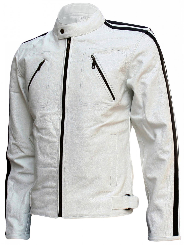 Modern Men's White Leather Jacket - Taavi