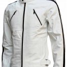 Modern Men's White Leather Jacket - Taavi