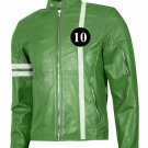 Green & White Ben 10 Leather Jacket