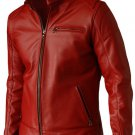 Elegant Men's Red Leather Jacket - Voteporix