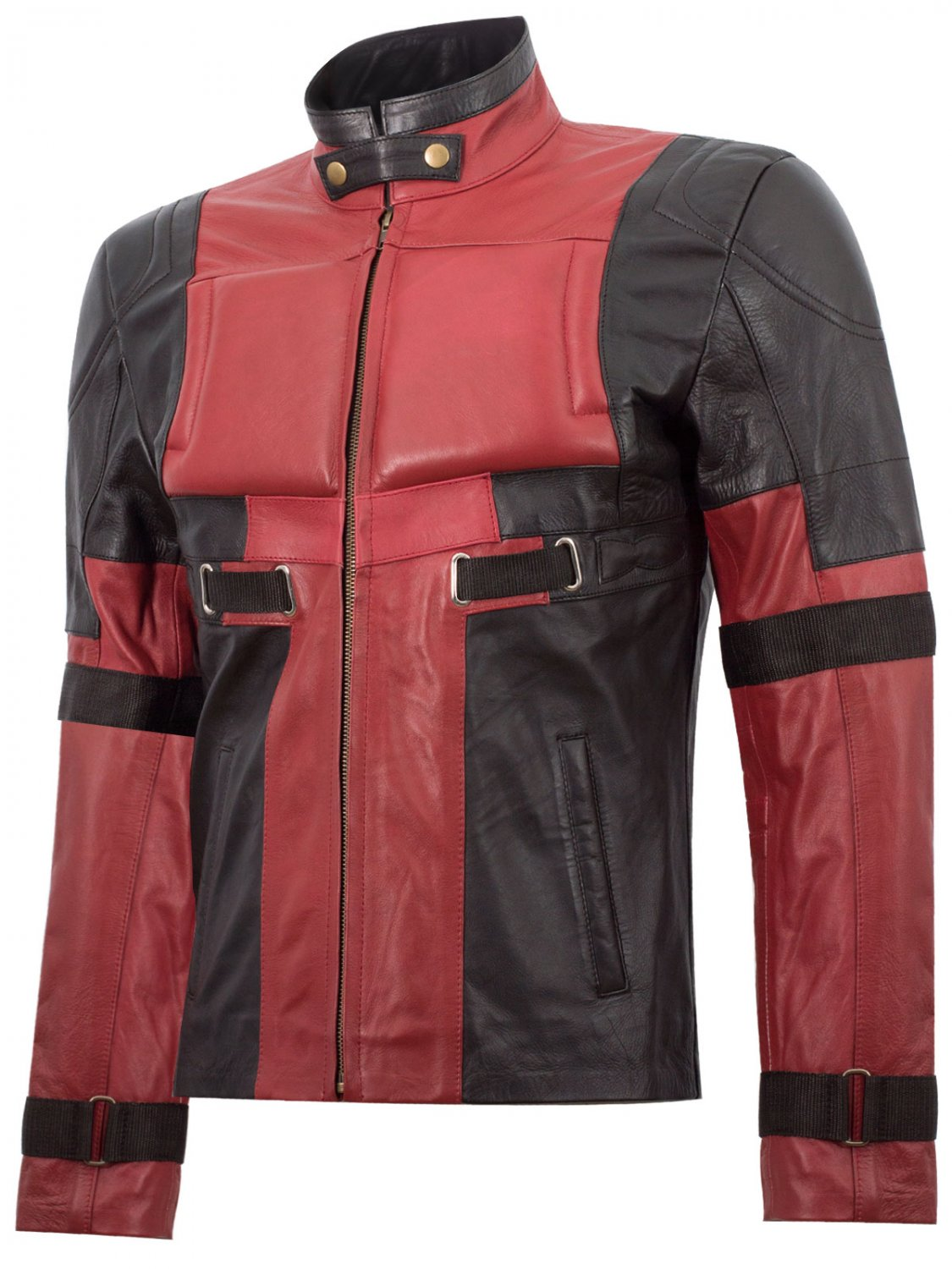 Red & Black Cosplay Ryan Reynold Deadpool Costume Leather Jacket