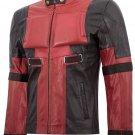Red & Black Cosplay Ryan Reynold Deadpool Costume Leather Jacket