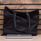 MONT5 Black Leather Women Tote Carryall Work Laptop Shoulder Bag Market Handbag