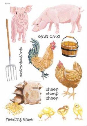 Pig Chicken Rooster Sticker Pack Scrapbook Stickers