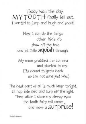 Lost Tooth Page Poem  Scrapbook Sticker