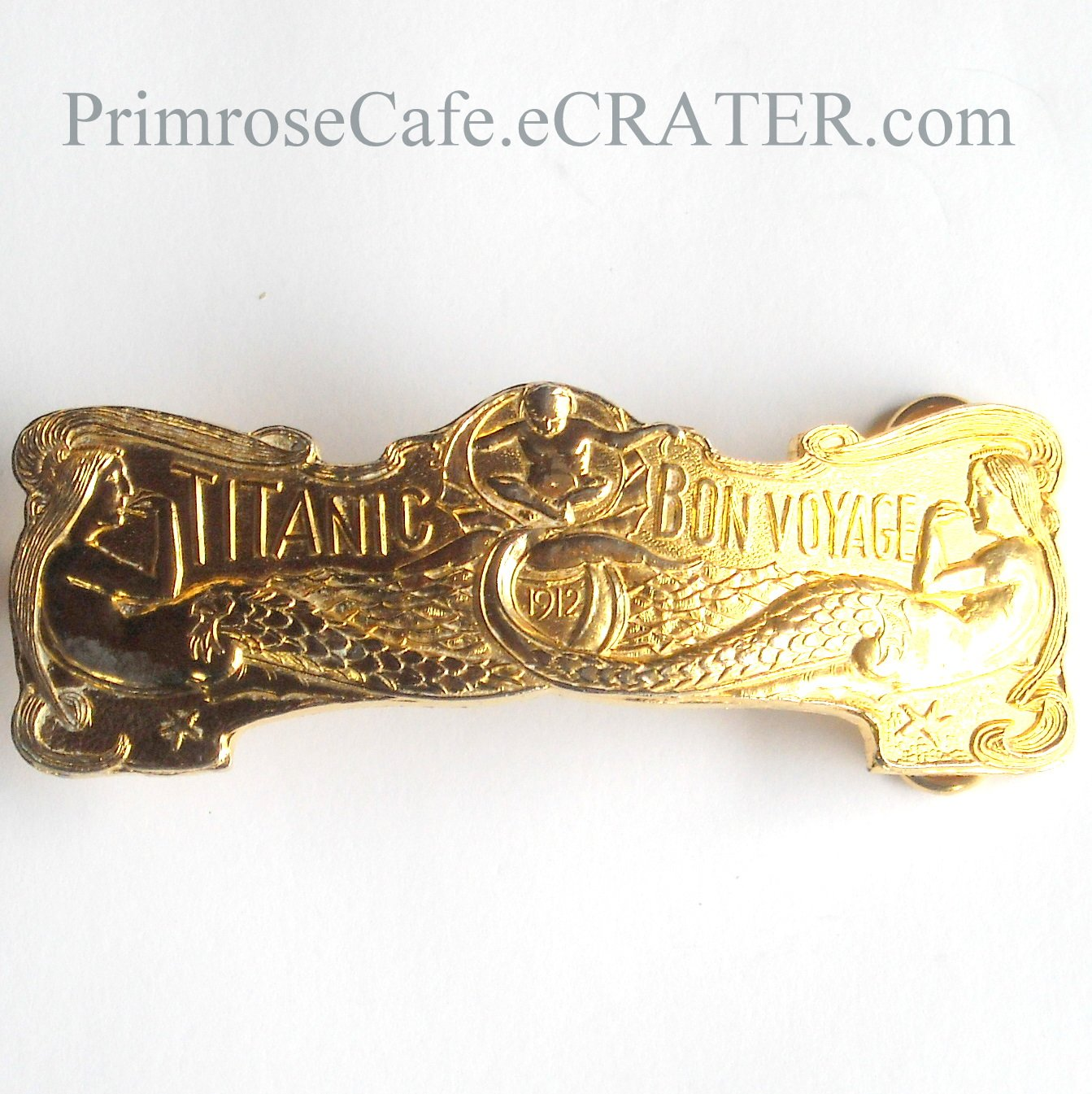 Vintage Titanic Bon Voyage 1912 Mermaids French Brass Belt Buckle