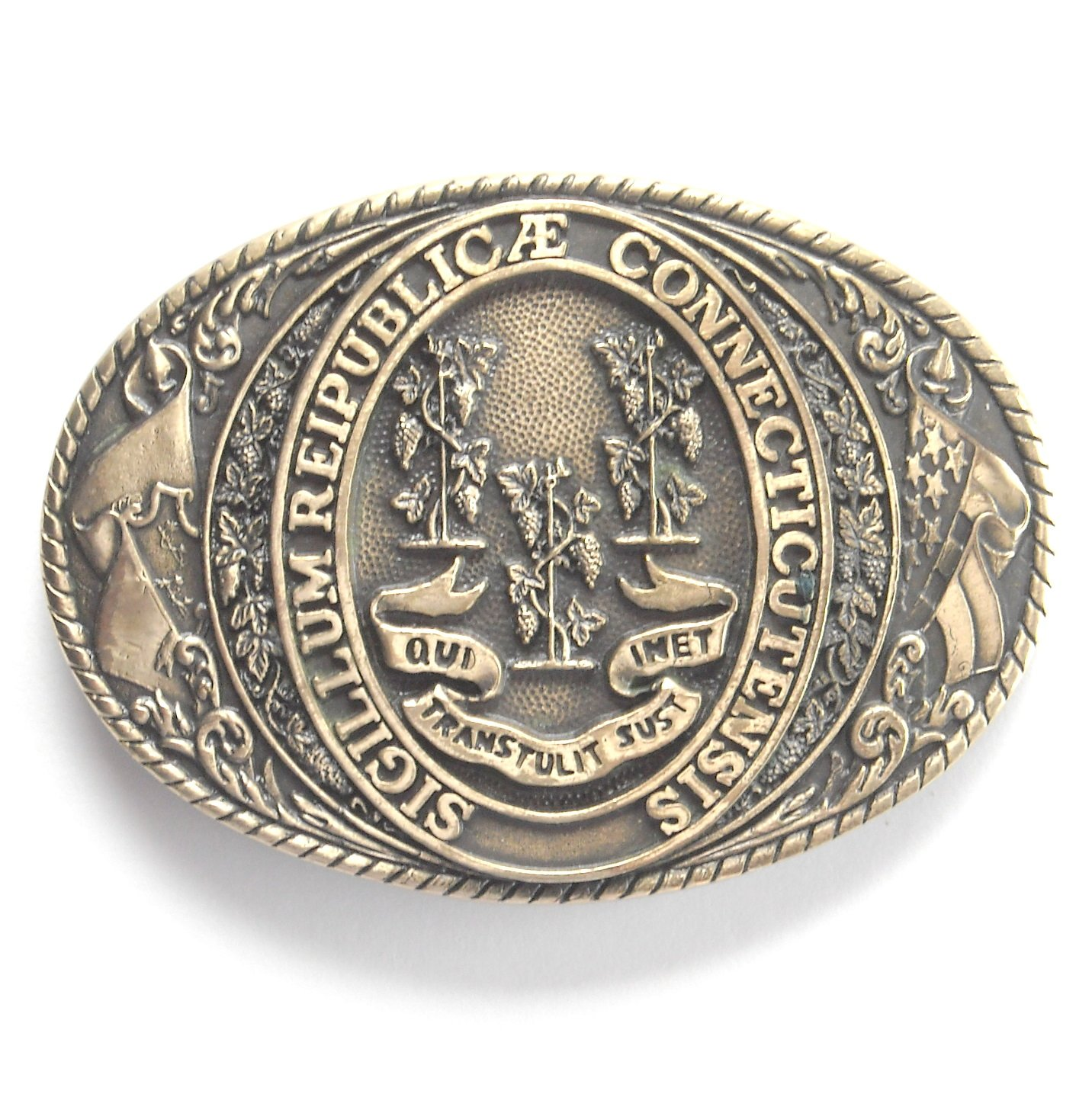 Vintage Tony Lama Great Seal State Connecticut Brass Belt Buckle