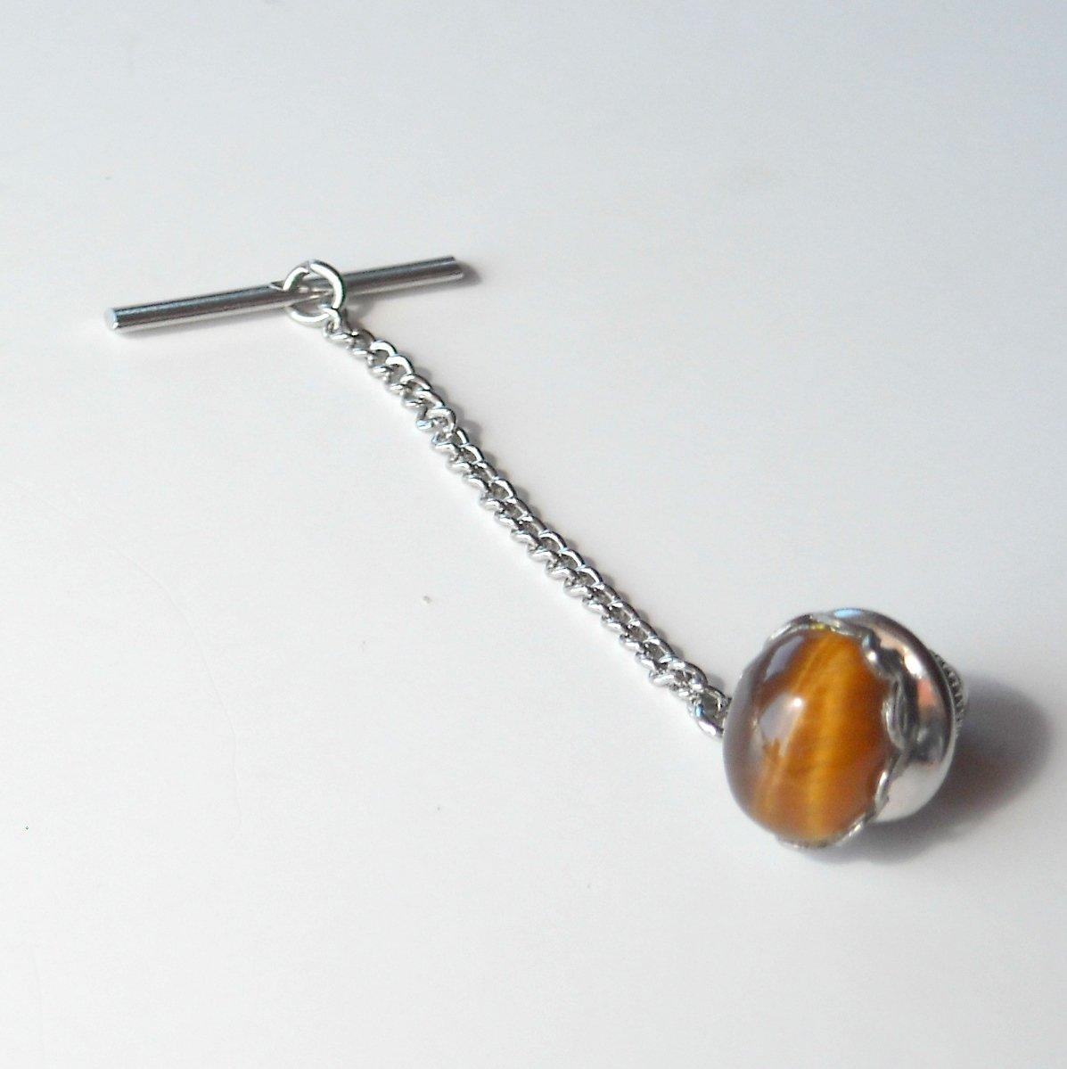 Tiger Eye Silver color alloy necktie tack clutch pin