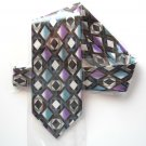 Vintage No Label Hand Made Purple Blue White Silk Necktie Tie
