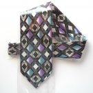 Vintage No Label Hand Made Purple Blue White Silk Necktie Tie