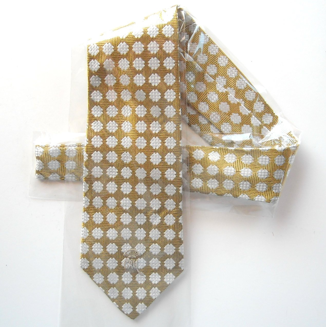 Countess Mara Gold White Hand Tailored mens Silk necktie tie