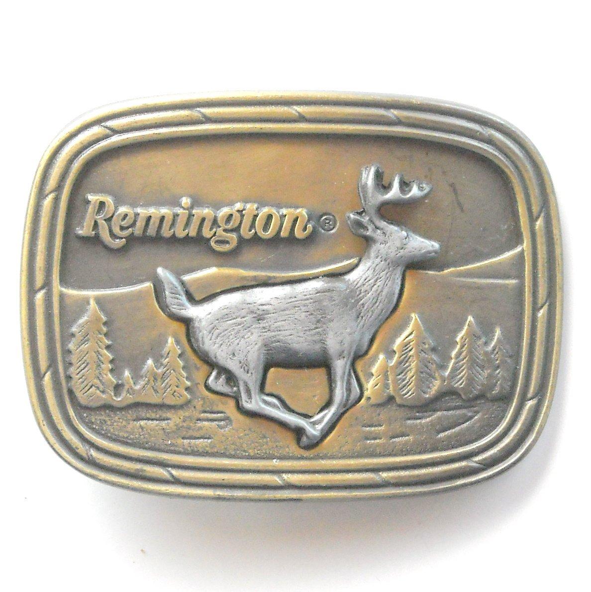 Vintage Remington Arms Running White Tailed Deer Brass metal alloy belt buckle