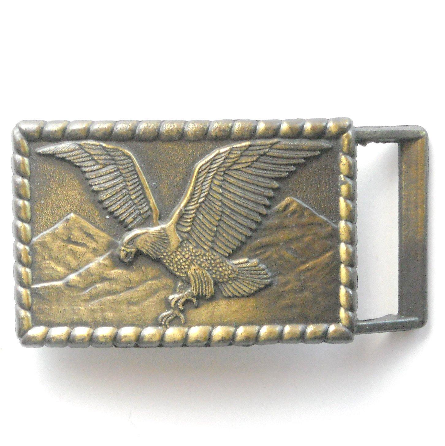 Vintage Western American Bald Eagle Brass Metal Belt Buckle