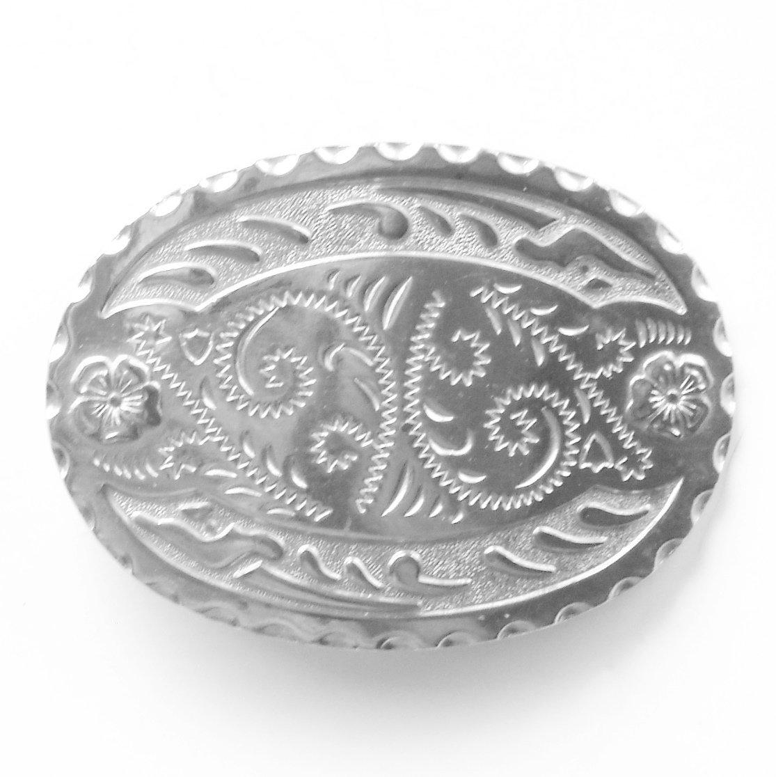Vintage Ornate Silver Color metal alloy belt buckle