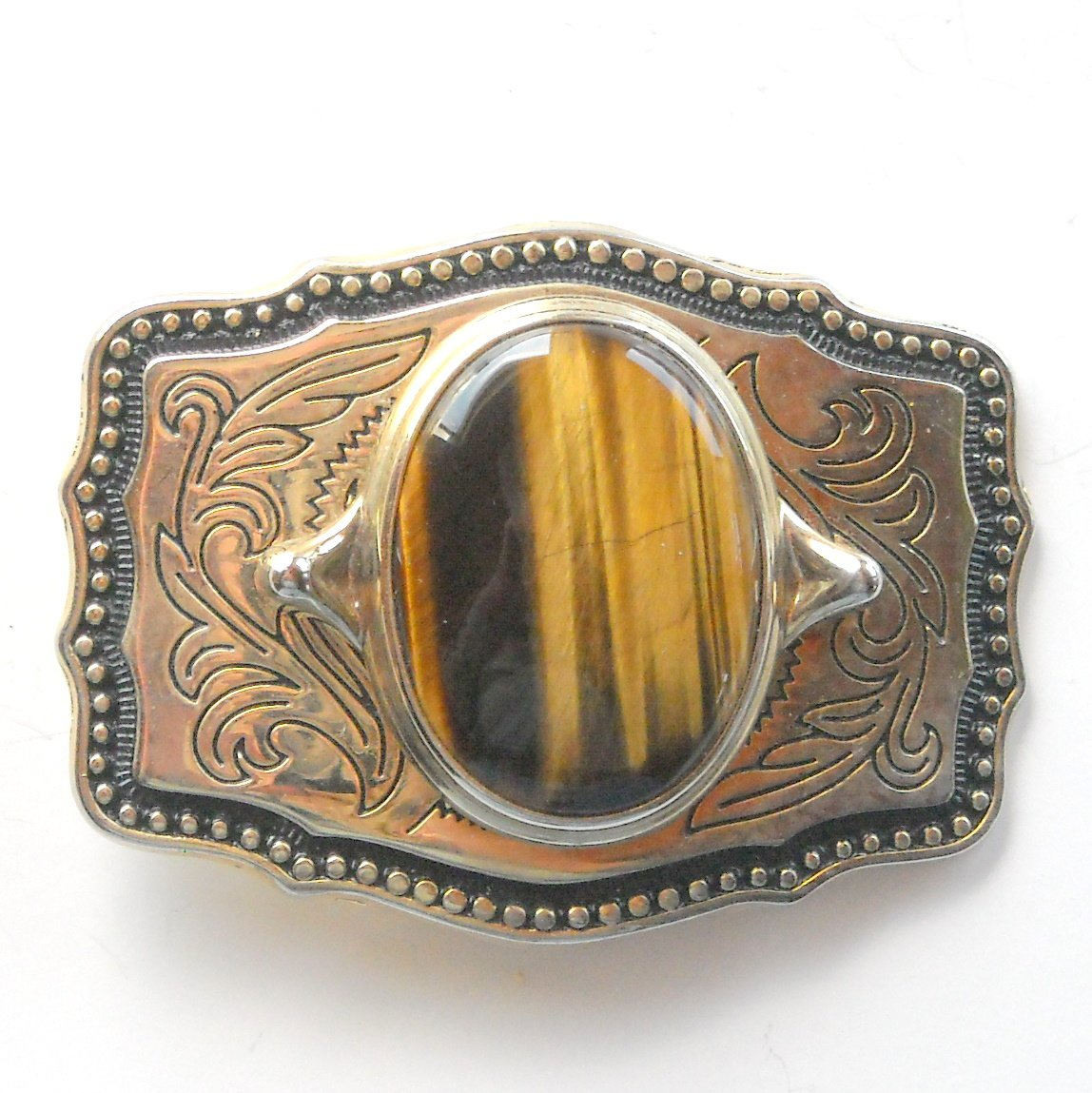 Vintage Tiger Eye Ornate Silver Color metal alloy belt buckle
