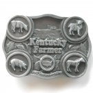 Bryant Inc 3D Kentucky Farmer Commemorative pewter metal alloy used belt buckle