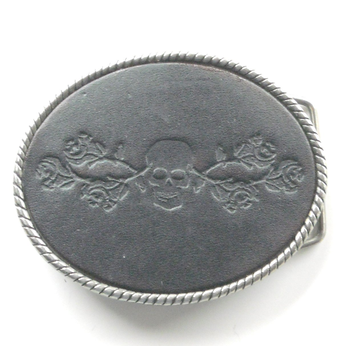 Skull And Roses Black Leather Stamped Metal Belt Buckle