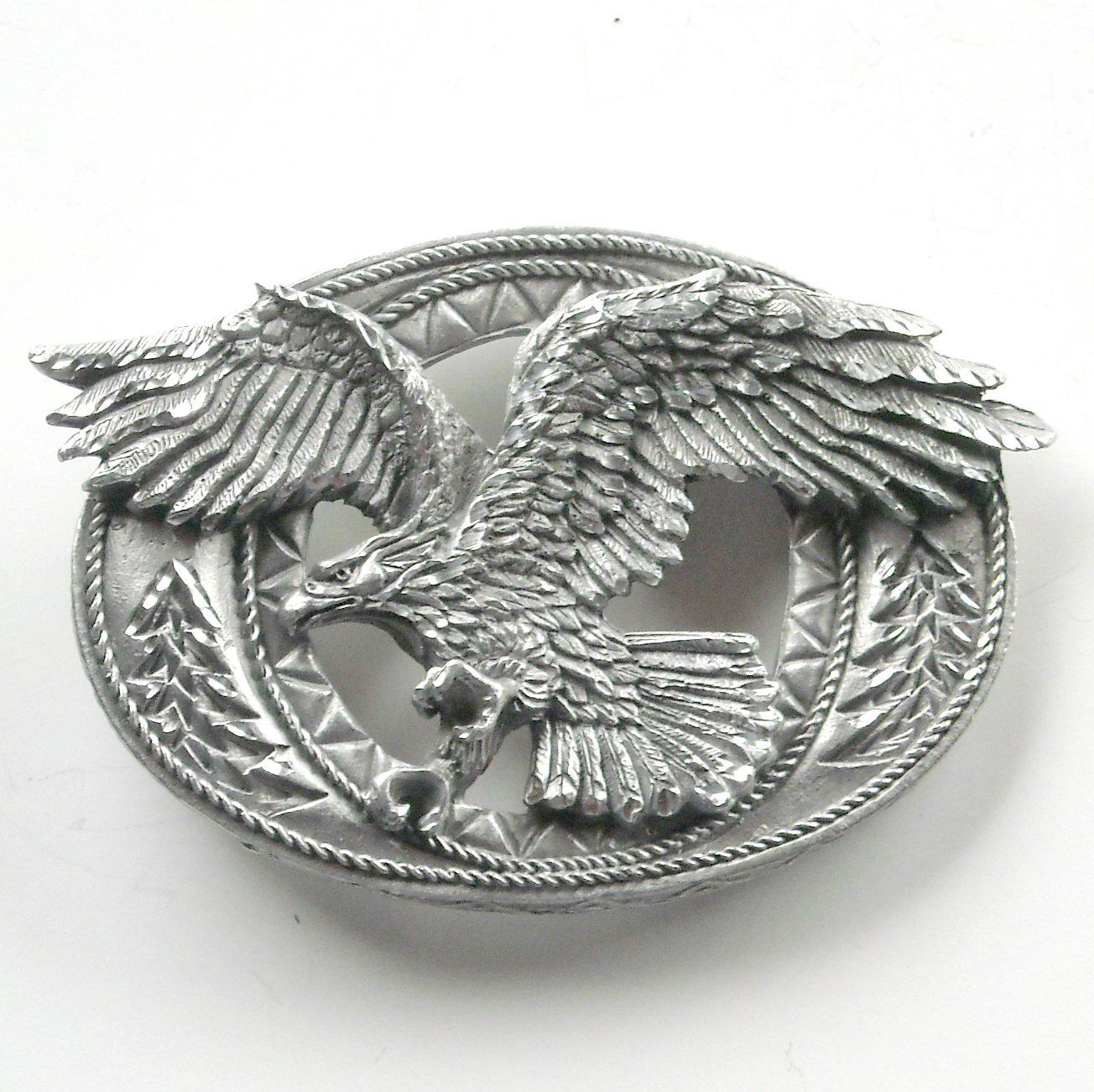 Enchantment Diamond Cut Eagle Open Pewter Belt Buckle