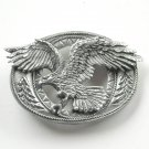 Enchantment Diamond Cut Eagle Open Pewter Belt Buckle