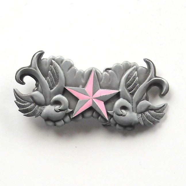 Pink Death Star Heavy Metal pewter alloy belt buckle