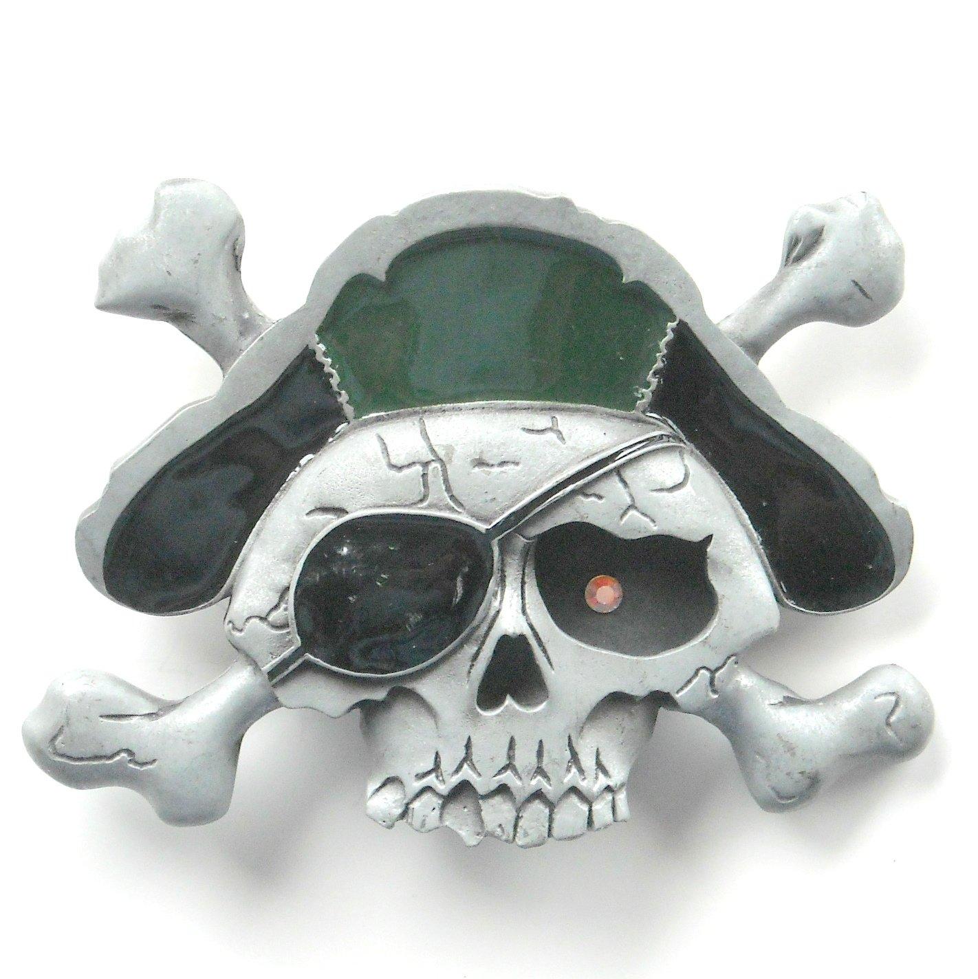 Pirate Skull Rhinestone Heavy Metal Pewter Belt Buckle