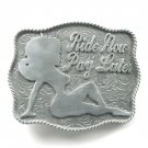 Ride Now Pay Later pewter alloy belt buckle