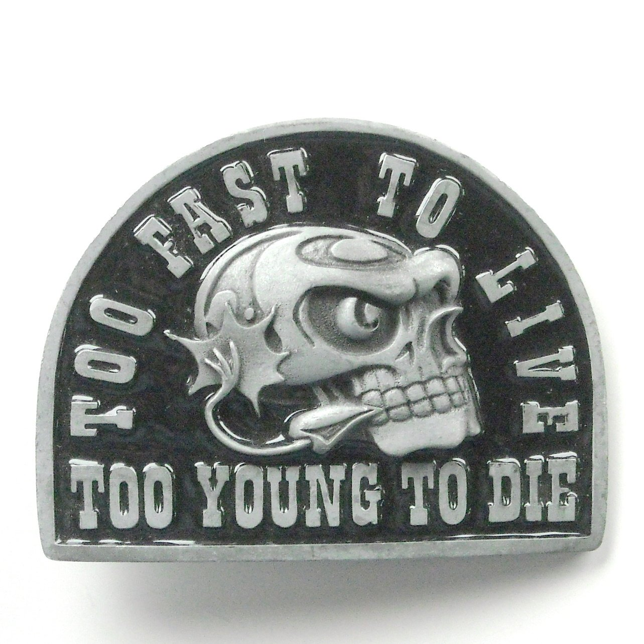 Too Fast To Live Too Young To Die Skull alloy belt buckle