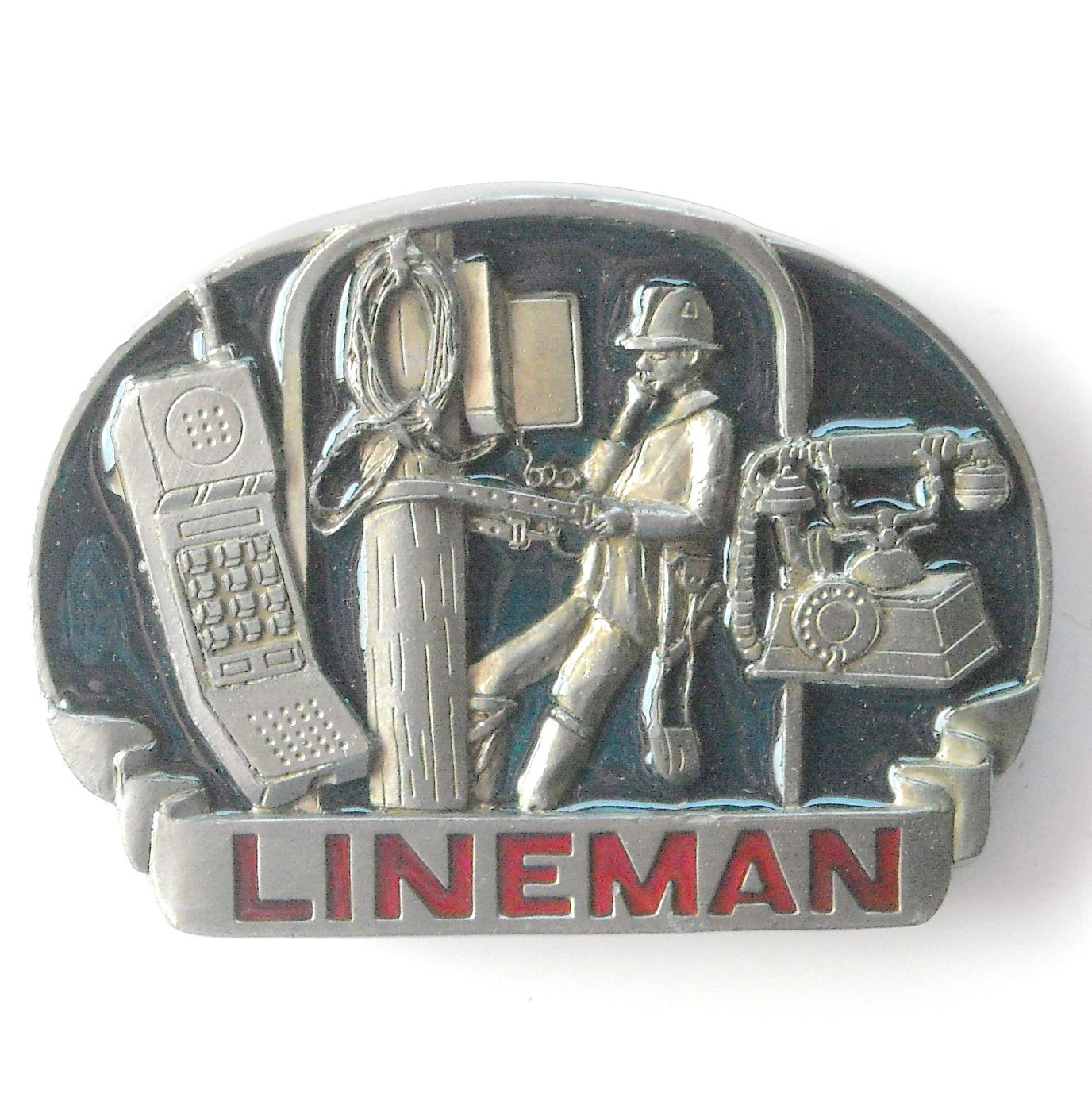 Lineman Phone C+J 1993 C&J Inc pewter alloy belt buckle