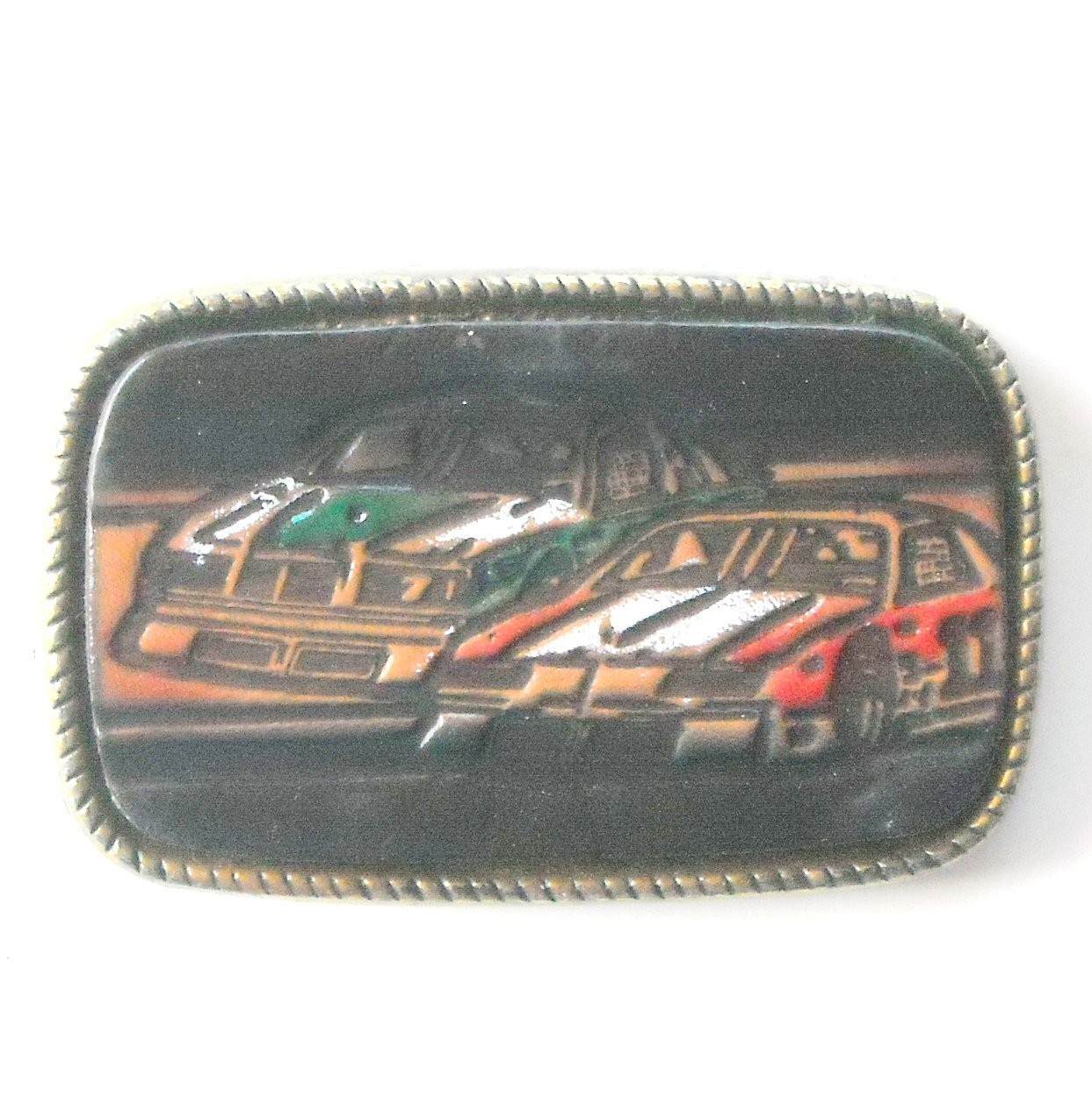 Nascar Leather And Brass Alloy Belt Buckle # 1