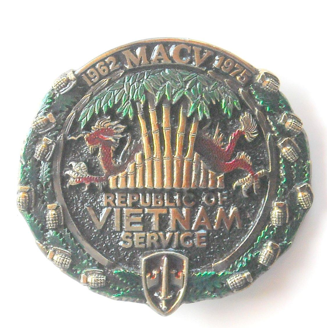 MACV Service Vintage Great American Buckle Co Republic Of Vietnam brass alloy belt buckle