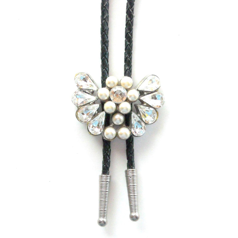 Vintage Perls Rhinestone Bolo Bootlace Tie