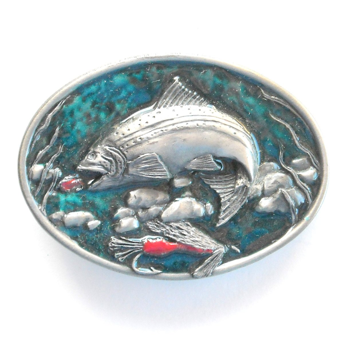 Jumping Chinook Salmon 3D Vintage C & J metal alloy belt buckle