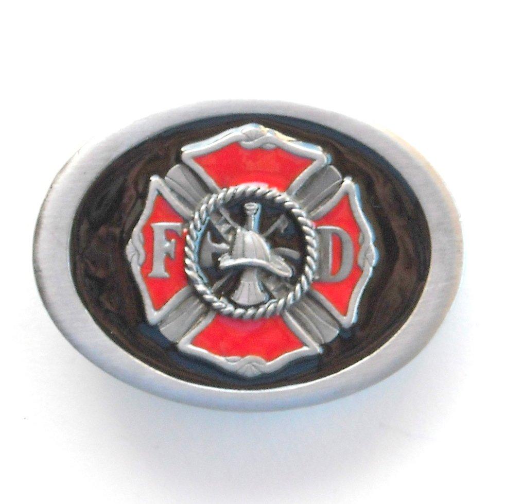 FD Firefighter Fire Department C+J Pewter Belt Buckle