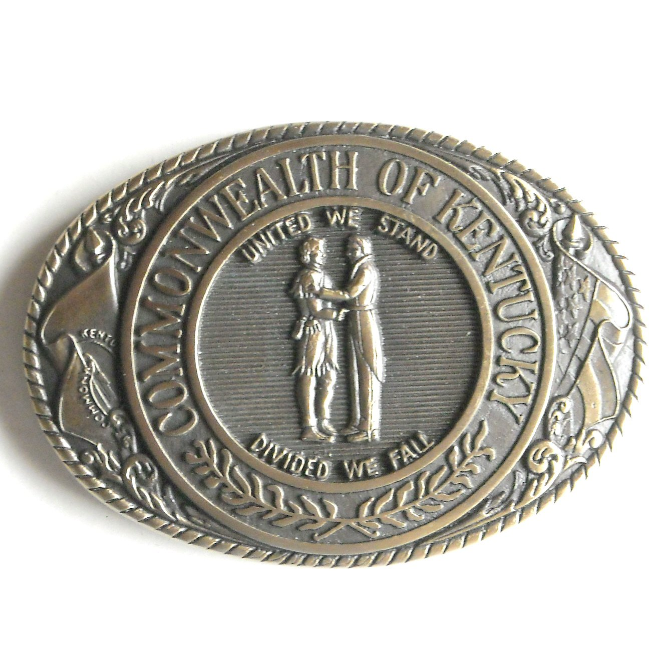Vintage Tony Lama First Edition Great Seal Of The State Commonwealth of Kentucky brass belt buckle