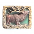 Native American Elk 3D design Bergamot Vintage Belt Buckle