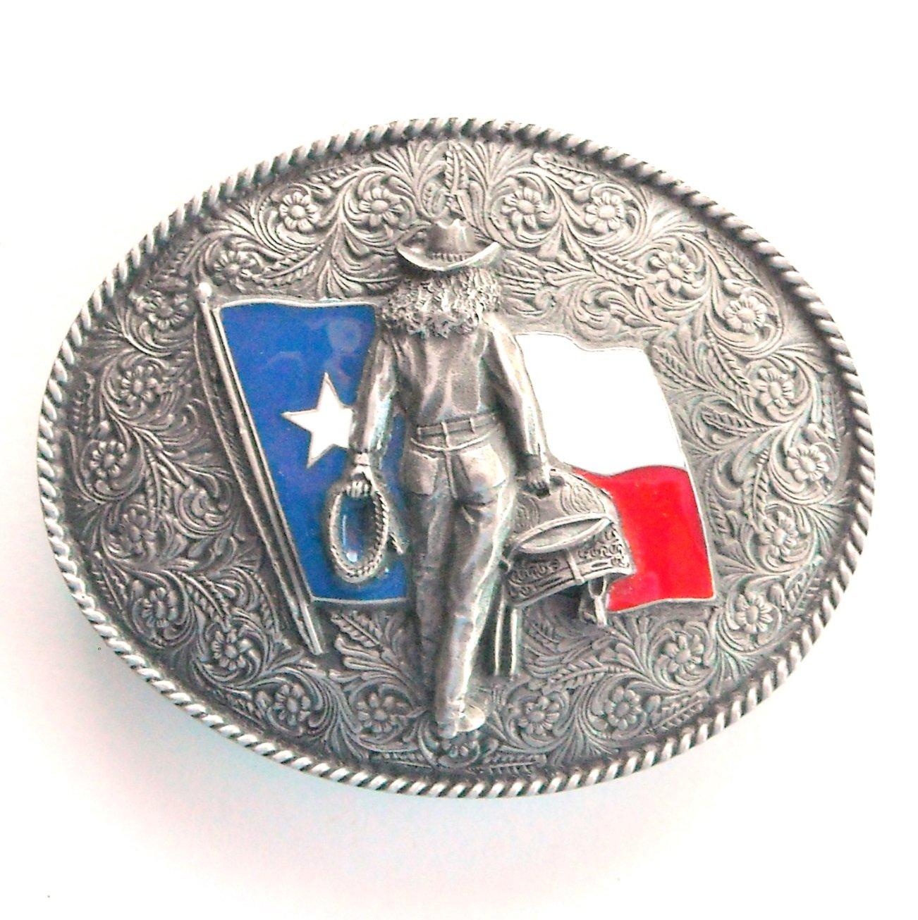 Texas Flag Cowgirl 3D Bergamot belt buckle