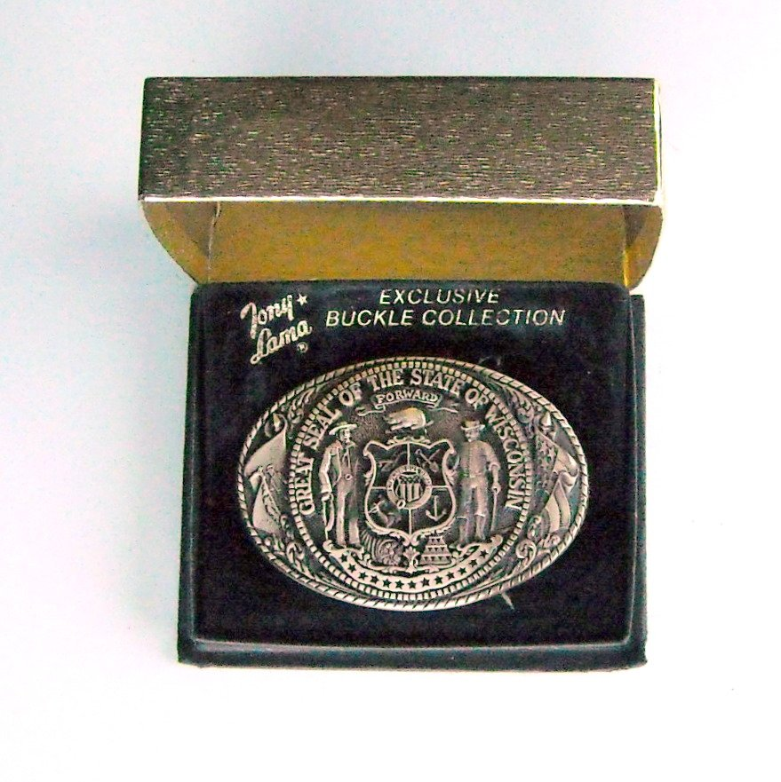 Great Seal Of The State Of Wisconsin First Edition Tony Lama Vintage Belt Buckle