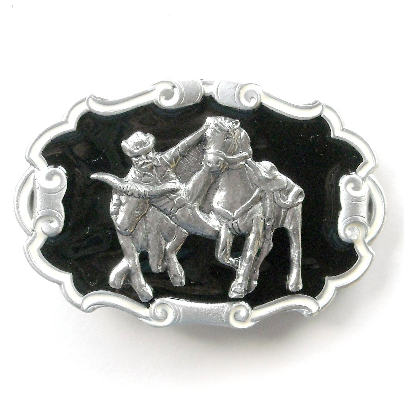 Rodeo Cowboy Horse Bull Vintage 3D Great American Buckle Pewter belt buckle