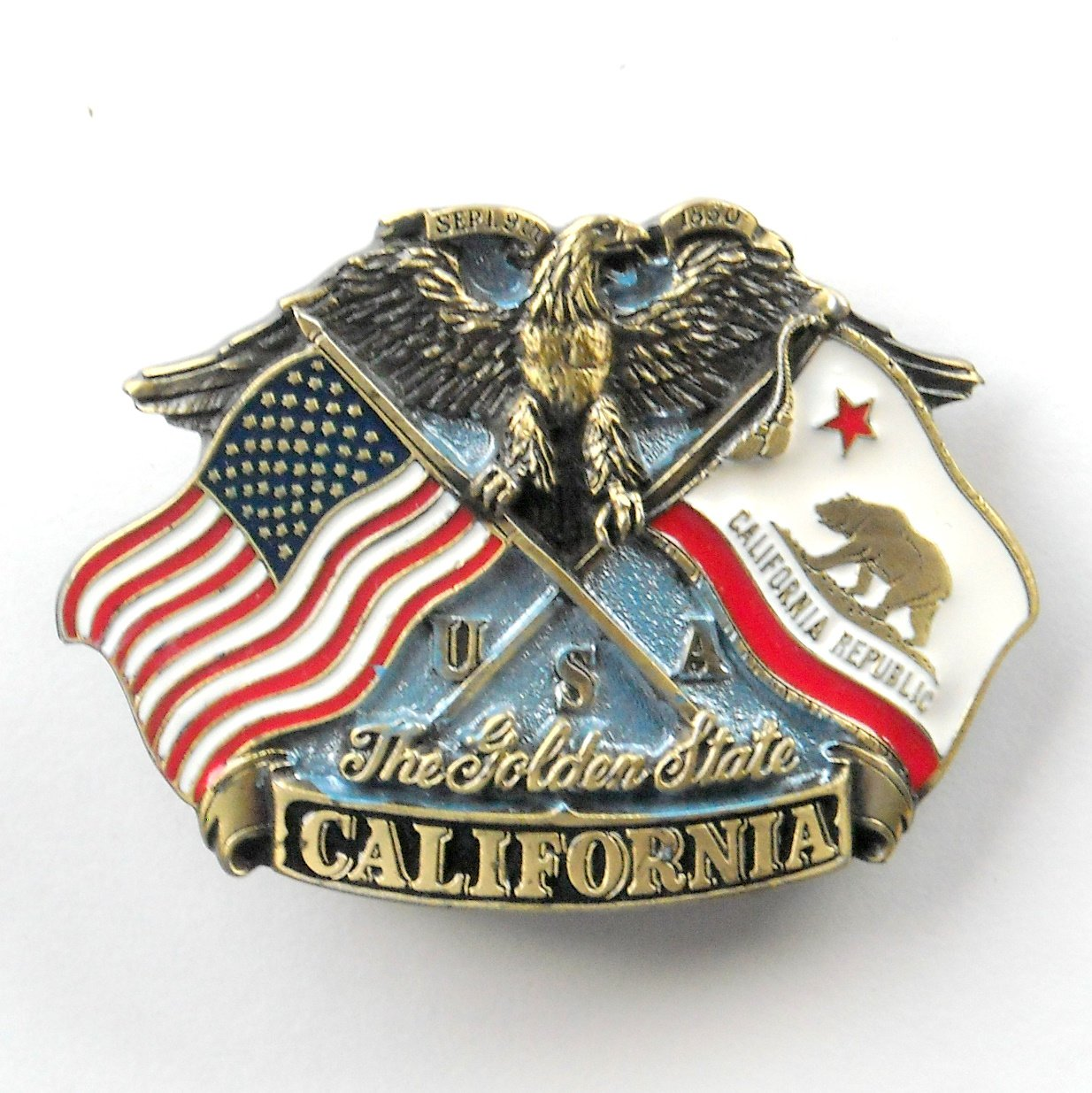 The Golden State California Vintage 3D Great American Buckle Pewter metal alloy belt buckle
