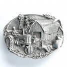 Vintage Farmer Bergamot Pewter Belt Buckle