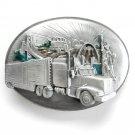 America Truckers New York California Vintage Siskiyou Pewter Belt Buckle
