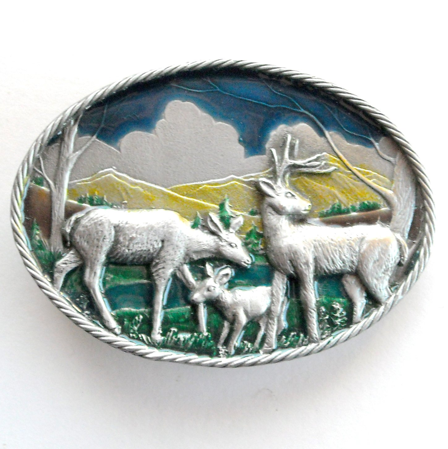 White Tail Deer Family Great American Belt Buckle
